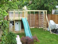 Suppliers of wooden climbing frames, childrens playhouses, wendy houses and garden play equipment for children all made in the UK. Garden Climbing Frames, Kids Climbing Frame, Wooden Climbing Frame, Small Garden With Shed, Small Garden Design, Patio Design, Outdoor Fun For Kids, Backyard For Kids, Garden Kids