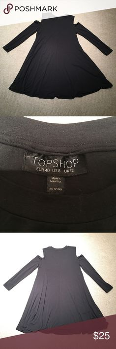 Topshop Long-Sleeved Dress This black US size 8 dress by Topshop has long sleeves with small shoulder cutouts. Made from cotton and elastane. Subtle seam down the middle back. Dress has never been worn! Topshop Dresses Long Sleeve