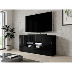 Black And White Tv Stand, White Tv Stands, Best Living Room Design, Living Room Designs, Black Tv Console, Console Tv, Living Room Storage, Storage Spaces, Tv Stand With Storage