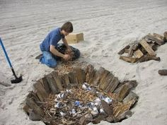 Pit Firing ceramics at the Beach