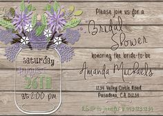 Printable Purple Rustic Flower Invite