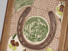 Vintage HORSE SHOE Unique Broken China MOSAICS by Applegatecottage, $65.00