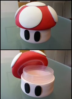 Cute idea for any spare containers lying around....Mario Mushroom!! Love it!!