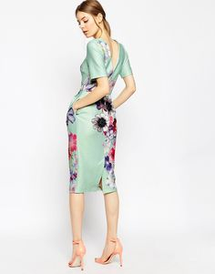 Image 2 of ASOS Textured Wiggle Dress In Placement Floral Print