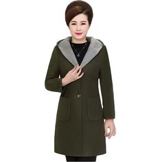 Women's 2 Button Wool-Blend Coat with Pockets 5XL Plus Size Hooded Woolen Coat Overcoat Long Jacket for Mother 2017 Winter XH638 #Affiliate