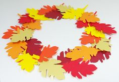 Herbst Deko Dekoration Basteln Papier Blätterkranz Türkranz Laub