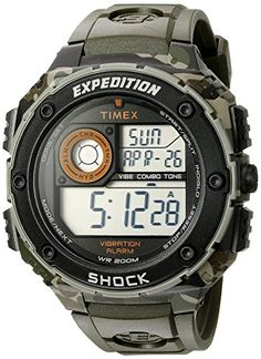 Timex Mens T49981 Expedition Vibe Shock Green Camo Resin Watch >>> Click image for more details.Note:It is affiliate link to Amazon.