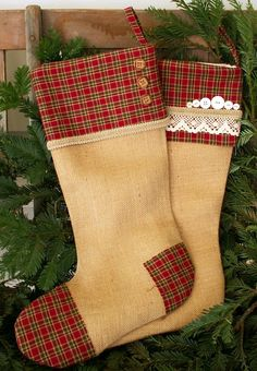 Hers and His Rustic Burlap Christmas Stockings  With Red Plaid Cuff (or your personal name)