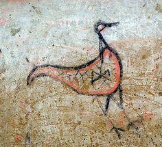 Veio, Grotta Gramiccia, Italia. Pertenece a la tumba etrusca más antigua conocida con frescos. Entre sus dibujos se encuentra este ave que contiene en su interior un hacha doble. Asian Art, Watercolor Tattoo, Moose Art, Drawings, Painting, Animals, Inspiration, Image, Interior