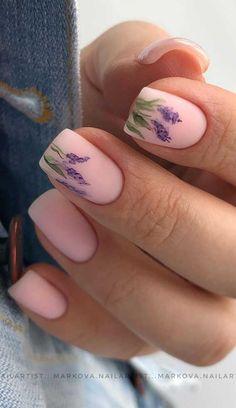 Pretty Nail Art, Cute Nail Art, Cute Nails, Short Nail Manicure, Manicure And Pedicure, Short Nails, Sqaure Nails, Neutral Nail Art, Lavender Nails