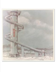 Inventive! Futuristic Norge Ski Jump painting from the 1980's. Fox River Grove, Illinois.