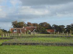 hier stond al eeuwen geleden het Strieper kerkje, de palen geven aan hoe het in de loop der eeuwen werd verbouwd