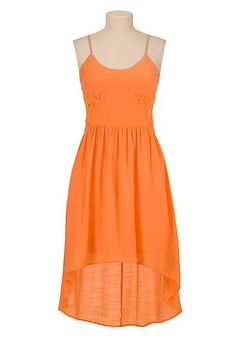 High-low gauze tank dress with cutout crochet sides (original price, $39) available at #Maurices