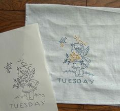 ON SALE PDF Sunbonnet Sue vintage 1930s Days of the Week Embroidery Pattern for tea towels, etc. $5.40, via Etsy.