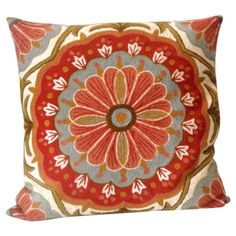 Check out this item at One Kings Lane! Floral Crewelwork Pillow