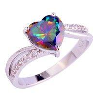 Wish | lingmei Fashion Jewelry Heart Cut Rainbow & White Topaz Gemstone Silver Ring Size 6 7 8 9 10 11 12 13