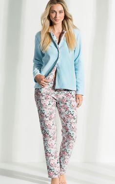 Cardigan com calça de Micro Soft Pettenati Floral rosa combinado com Azul Celeste. MIXTE PIJAMAS • Fall - Winter 2017