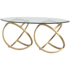 Horizon Metal Hoops Modern Coffee Table Gold With Glass Top ($369) ❤ liked on Polyvore featuring home, furniture, tables, accent tables, gold, oval cocktail table, square coffee table, gold metal coffee table, gold accent table and metal accent table
