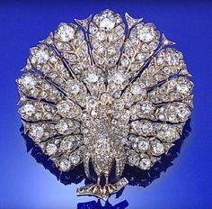 DIAMOND PEACOCK BROOCH, CIRCA 1880