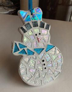 Stained Glass Snowman Mosaic Hanging Accent by BlueOceanGlass