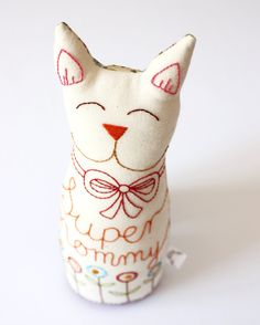 Toy Cat Handmade, hand embroidery