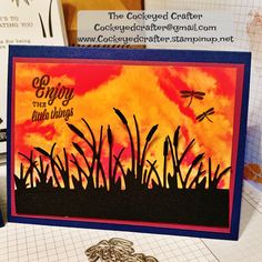 Stampin' Up! See a Silhouette DSP – Cockeyed Crafter's Corner Weird Shapes, Summer Memories, Paint Background, Summer Sunset, Simon Says Stamp, Stamping Up, Scrapbook Cards, Scrapbooking, Stampin Up Cards