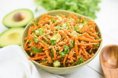 I thought today's recipe, Raw Asian Carrot Avocado Salad, would be a great accompaniment to any social gathering or event you have planned for this summer.