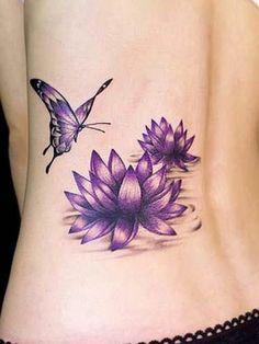 Wasserlilien und Schmetterling originelle Tattoos