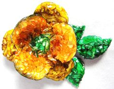 "Vintage hand embellished metal flower broochApprox 3"" x 2""Enamel on metal flower brooch has been covered with resin covered glassOrange, green & ...  #enamel #flowers #glass #green #orange #yellow #vintage #jewelry"