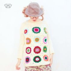 retro boho sweater ecru colorful women crochet pullover by diEnes