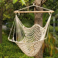 Deluxe Hanging Cotton Rope Hammock Chair Outdoor Yard Tree Swing Wooden 330lbs