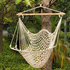 Deluxe Hanging Cotton Rope Hammock Chair Outdoor Yard Tree Swing Wooden 330lbs