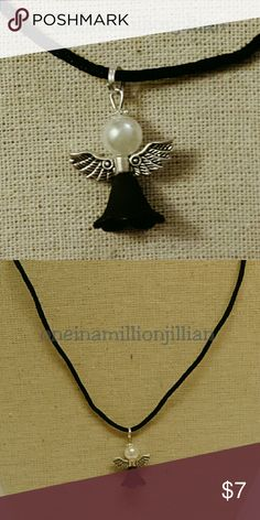 """Guardian Angel Charm Necklace Brand New - Never Worn  16"""" Black Silk Cord Necklace + 1"""" extender oneinamilliontreasures Jewelry Necklaces"""