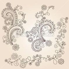 Grey vintage floral ornamental template on flower background ...