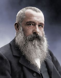Colorized photo of french impressionist painter Claude-Oscar Monet (1840–1926 ) Original black and white photo by Nadar