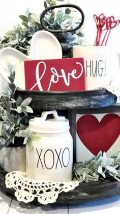 Valentine Tiered Tray Decorating Ideas - Valentine tiered trays are a simple way to decorate for this holiday. Trays can display roses, mugs - Valentines Day Decorations, Valentine Day Crafts, My Funny Valentine, Seasonal Decor, Holiday Decor, Summer Mantle Decor, Tray Decor, Tray Styling, Tiered Stand