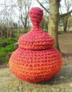 Freestanding Sculptured Crochet Pot ~ designed & handmade by Elvira Jane