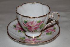 "Royal Stafford Bone China Teacup and Saucer Set ""Azalea"""