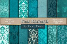 Teal damask digital paper  by Paper Farms on @creativemarket