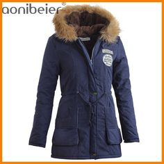 da11290227da7 Aonibeier Parkas Women Coats Fashion Autumn Warm Winter Jackets Women Fur  Collar Long Parka Plus Size