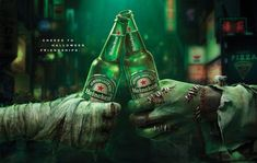 Heineken says cheers to Halloween friends in this print campaign out of Publicis Singapore. Creative Advertising, Advertising Signs, Saga, Halloween 2020, Good Company, Rescue Dogs, Beer Bottle, Cute Pictures, Friendship