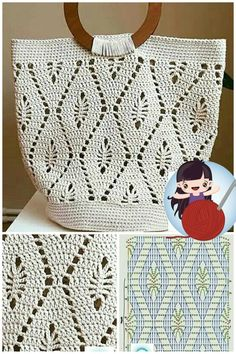 Crochet Stitches Free, Crochet Symbols, Crochet Diagram, Afghan Crochet Patterns, Crochet Shirt, Knit Crochet, Crochet Motif, Crochet Handbags, Crochet Purses