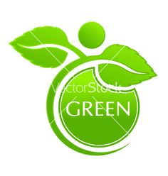 GreenSeal with Plant . Logo Design Vector
