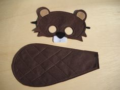 Beaver Mask and Tail for child by Mahalo on Etsy