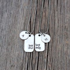 Her One Her Only hand stamped lesbian couples necklace set / mini dog tags with initials disc / personalized couples necklaces / gay lesbian Couple Necklaces, Best Friend Necklaces, Couple Jewelry, Cute Lesbian Couples, Lesbian Gifts, Couple Items, Delicate Gold Necklace, Anniversary Dates, Couple Shirts