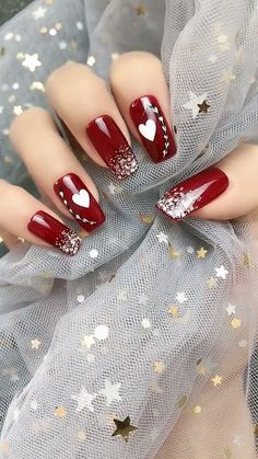 14 Sweet Valentine's Day Nail Design for You 2020 <br> Valentine's Day approaching, you can surprise your lover by choosing your favorite sweet nail design. Valentine's Day nail designs are a perfect way t Valentine's Day Nail Designs, Nail Art Designs Videos, Christmas Nail Art Designs, Nail Art Videos, Acrylic Nail Designs, Christmas Nails, Acrylic Nails, Plaid Christmas, Makeup Videos