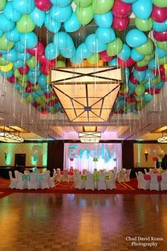 Multi-Colored Ceiling Balloons