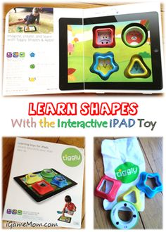 Learn Shapes with interactive iPAD toy - fun and engaging play teaching kids shapes and creativity #kidsapps #iPADtoy