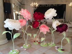 Купить Ростовые пионы из бумаги - бумажные цветы, свадебное оформление, аренда декора, ростовые цветы