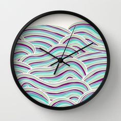 Summer Fields Wall Clock by Pom Graphic Design  - $30.00 #wallclock #homedecor #decor #accentdecor #seawaves #waves #nautical #nauticaldecor #teal #purple #turquoise #clock #forthehome